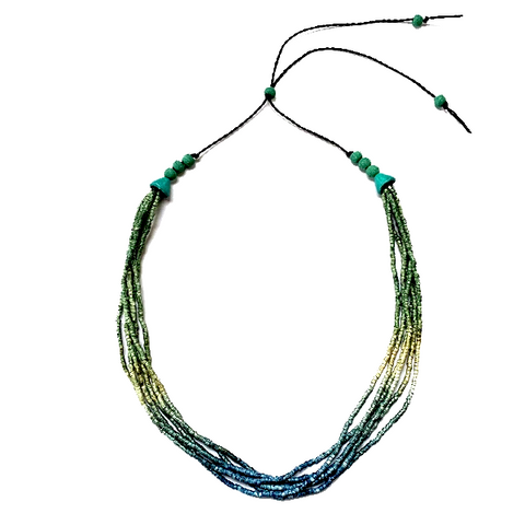Ombre Green, Gold to Blue Ceramic Bead 6 Strand Adjustable Choker Necklace