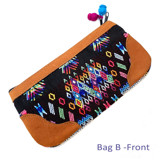Bold Geometric Vintage Guatemalan Huipil Fabric & Leather Clutch