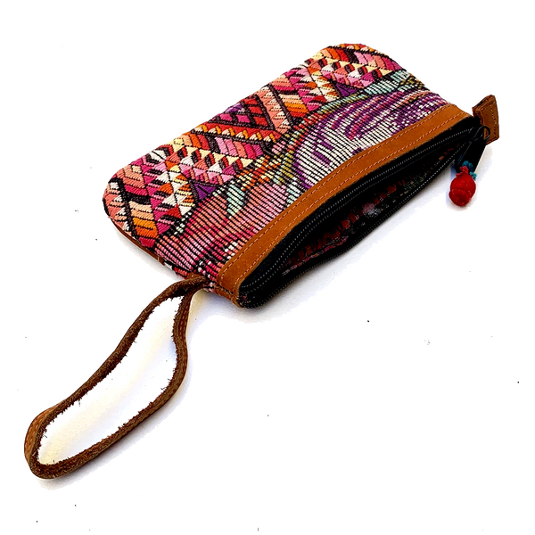 Bold Geometric Vintage Huipil Fabric & Leather Clutch with Wrist Strap #2