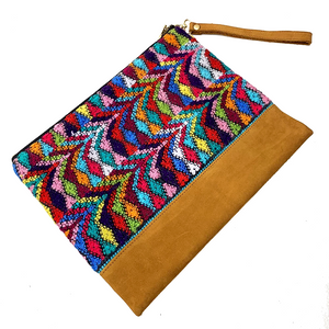 Large Multi Colored Vintage Huipil Fabric & Leather Bag with Removable Wrist Strap