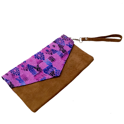 Large Purple Vintage Huipil Fabric & Leather Clutch with Removable Wrist Strap