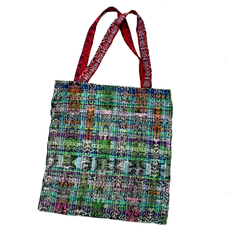 Green Corte Fabric with Metallic Thread Fabric Tote Bag