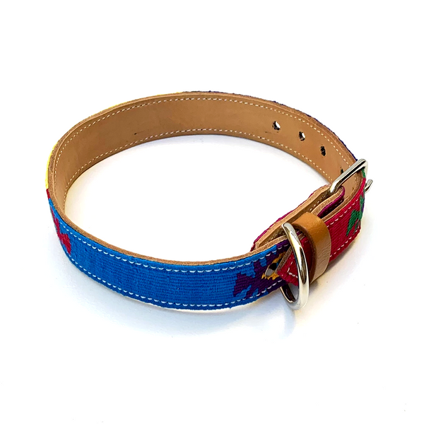 Colorful Hand Woven Cotton & Leather Dog Collar - Large