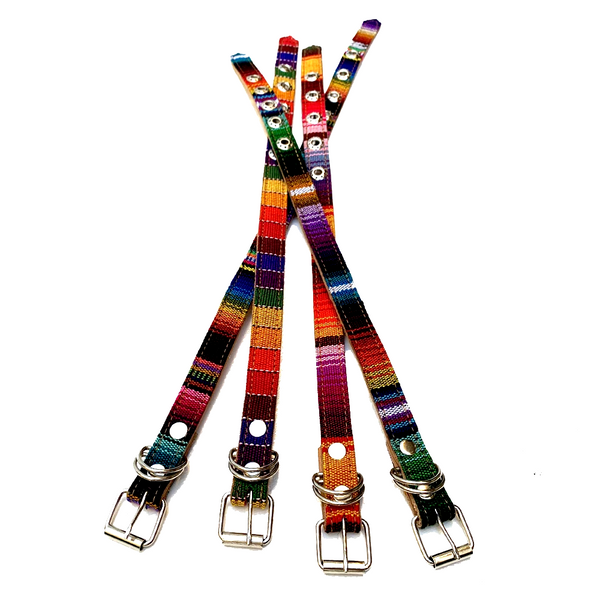 Colorful Hand Woven Cotton & Leather Dog Collar - Small & XS