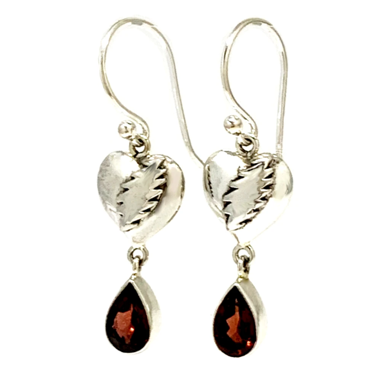 NFA Heart & Bolt Earrings Cast In Sterling Silver with Faceted Garnet Stones