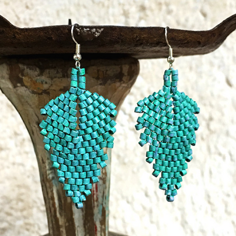 Turquoise Ceramic Beaded Leaf Earrings