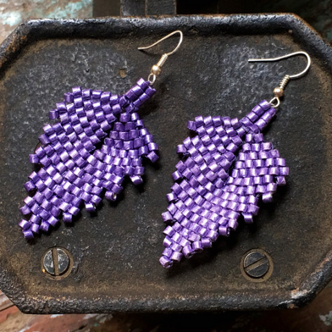 Handmade Purple Ceramic Beaded Leaf Earrings