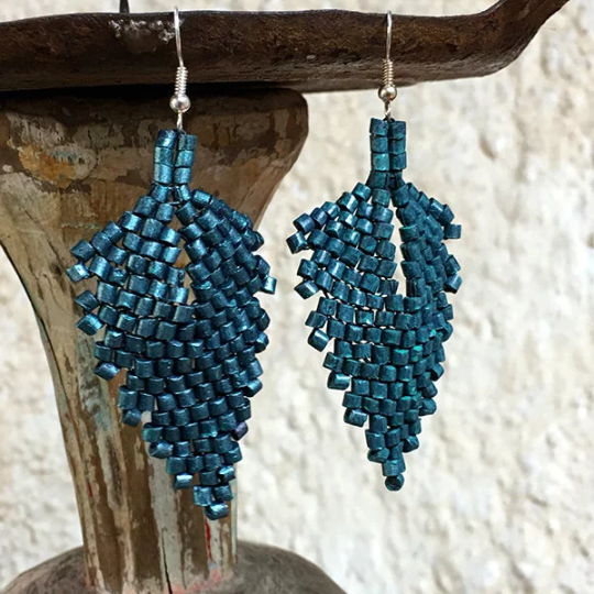 Handmade Dark Teal Ceramic Beaded Leaf Earrings