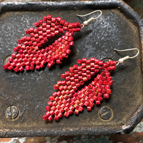 Dark Red Ceramic Beaded Leaf Earrings