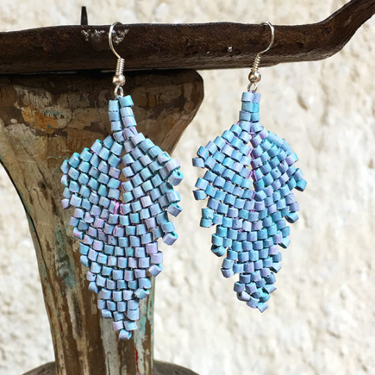 Handmade Faded Blue with Pink Ceramic Beaded Leaf Earrings