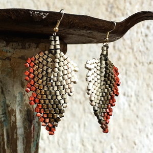 Rust, Brown and Natural Faded Ceramic Beaded Leaf Earrings