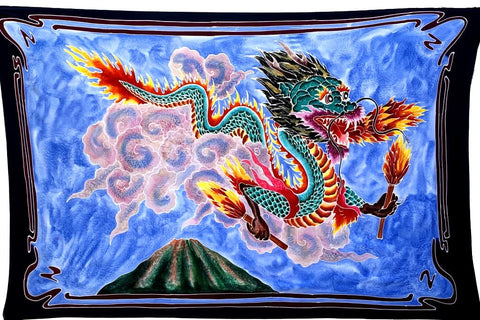 Dragon with Matches Batik Tapestry -  3 1/2 x 5 1/2 Feet!