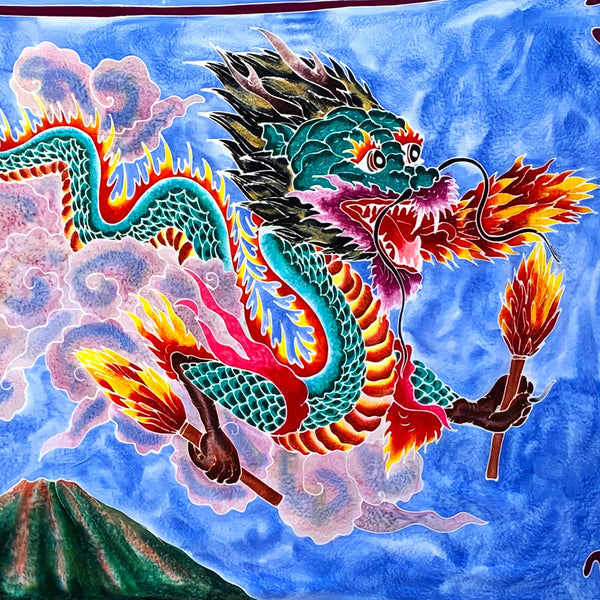 Dragon with Matches Batik Tapestry 3 1/2 x 5 1/2 Feet!