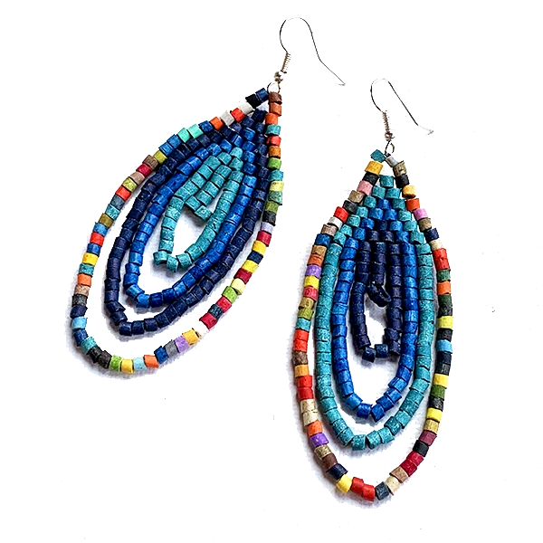 Small Blue and Multi Color Ceramic Beaded Hoop Fringe Earrings
