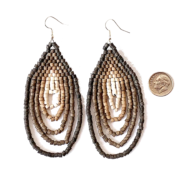 Large Charcoal, Brown to Cream Ombre Ceramic Beaded Hoop Fringe Earrings