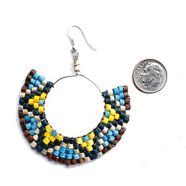 Blue, Yellow, Silver & Black Beaded Wire Wrapped Hoop Earrings