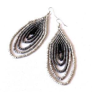 Large Silver, Grey to Charcoal Ombre Ceramic Beaded Hoop Fringe Earrings