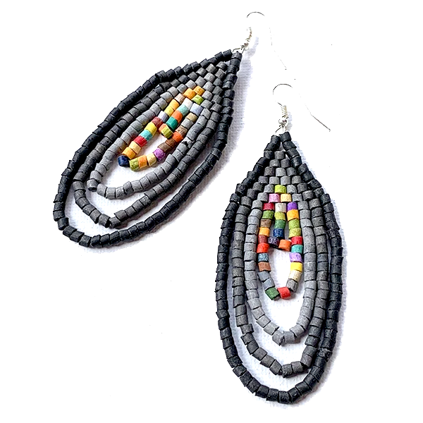 Small Grey and Multi Color Ceramic Beaded Hoop Fringe Earrings