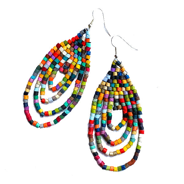 Small Multi Color Ceramic Beaded Hoop Fringe Earrings