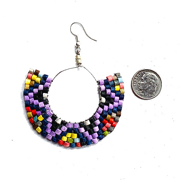 Purple & Black Multi Color Beaded Wire Wrapped Hoop Earrings