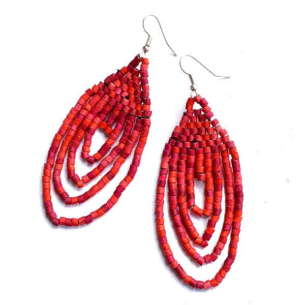 Small Red Ceramic Beaded Hoop Fringe Earrings