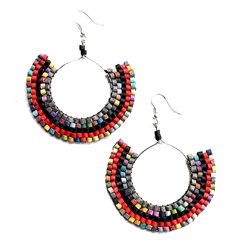 Red & Black Striped Multi Color Beaded Wire Wrapped Hoop Earrings
