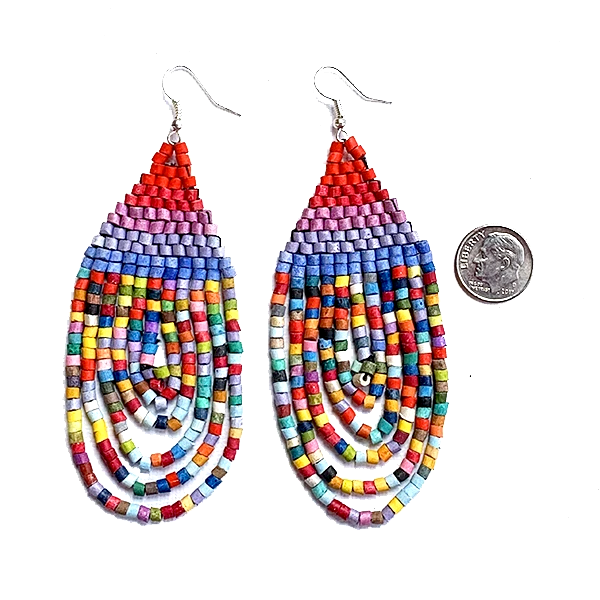 Large Red, Purple, Blue Multi Color Ceramic Beaded Hoop Fringe Earrings