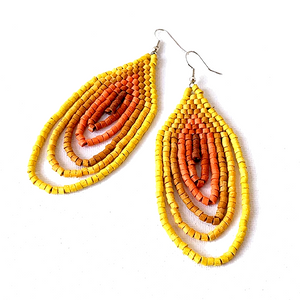 Large Yellow, Mustard to Orange Ombre Ceramic Beaded Hoop Fringe Earrings