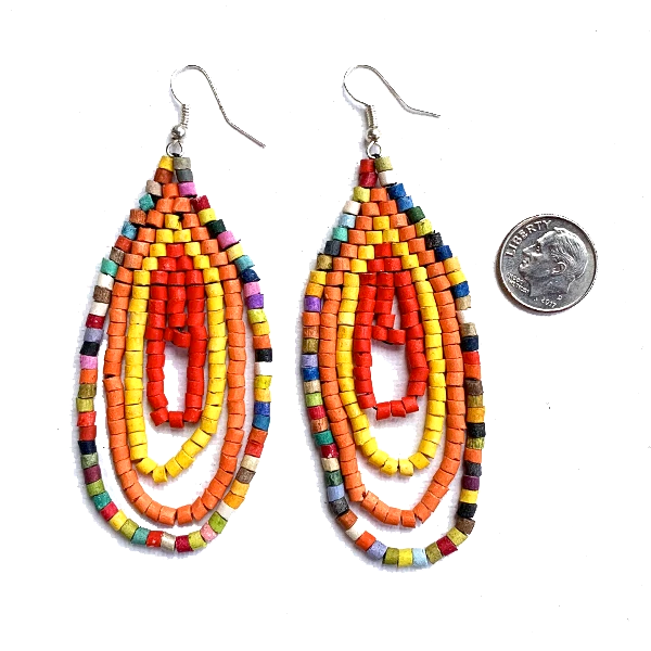 Small Orange, Yellow, Red & Multi Color Ceramic Beaded Hoop Fringe Earrings