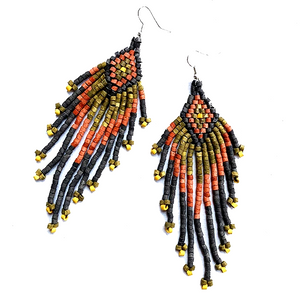 Black, Rust & Khaki Beaded 13 Fringe Earrings - 5""