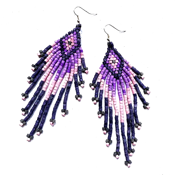 Indigo, Purple & Pink Beaded 13 Fringe Earrings - 5""
