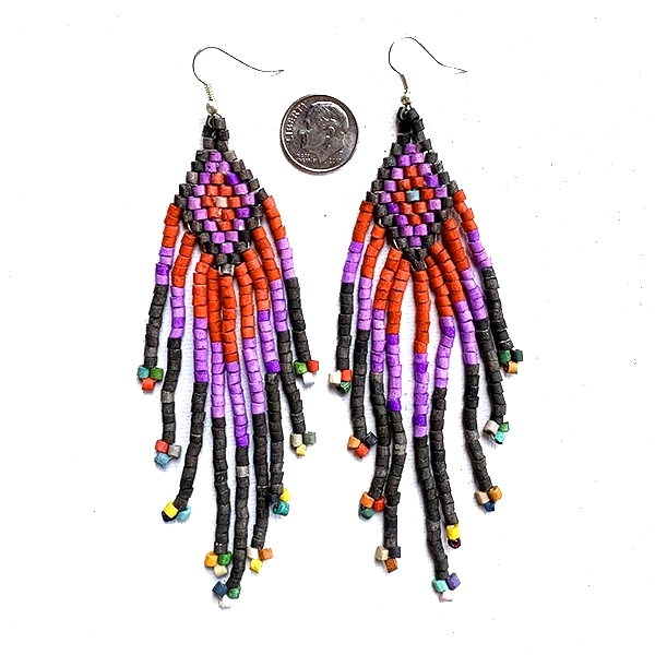 Black ,Purple & Red Beaded 9 Fringe Earrings - 5""