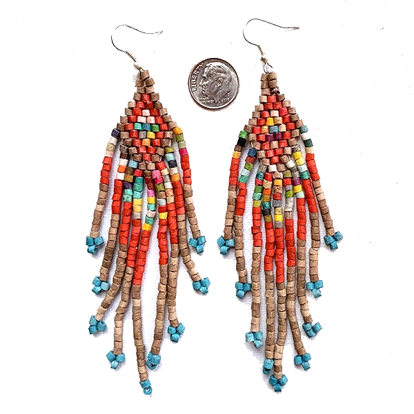Rust and Multi Color Beaded 9 Fringe Earrings - 5""