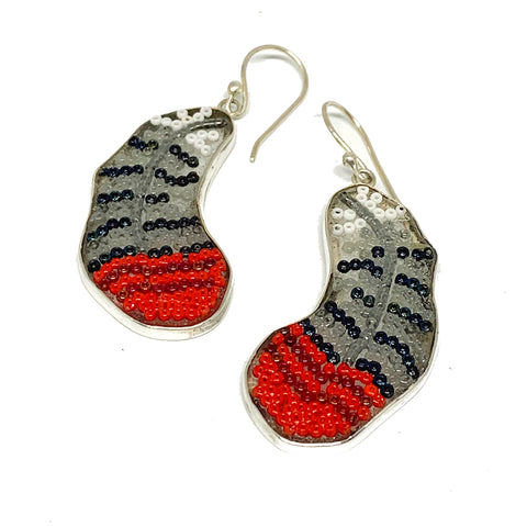 Red & Grey Woodpecker Feather Fused Glass Beaded Earrings
