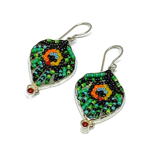 Green & Purple Peacock Feather Fused Glass Beaded Earrings with Carnelian Stone
