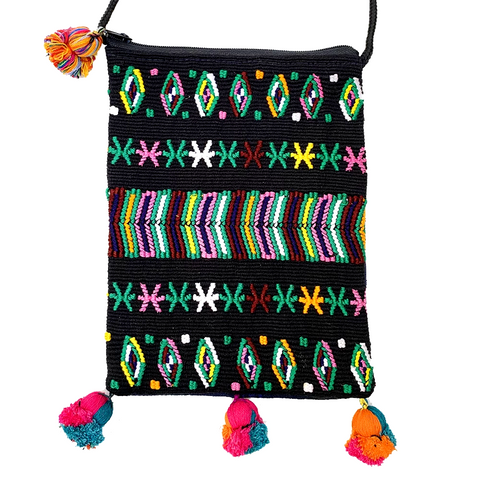Black Colorful Vintage Guatemalan Huipil Fabric Over the Shoulder Festival Bag