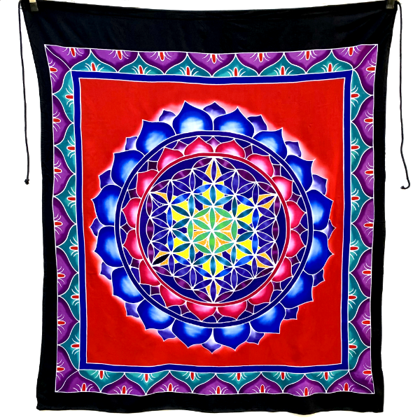 Flower of Life Batik Tapestry with Red Background - 3 feet