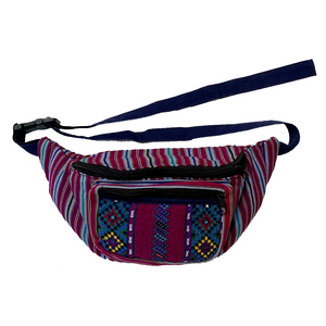 Magenta Stripes with Embroidered Pocket Fanny Pack from Guatemala