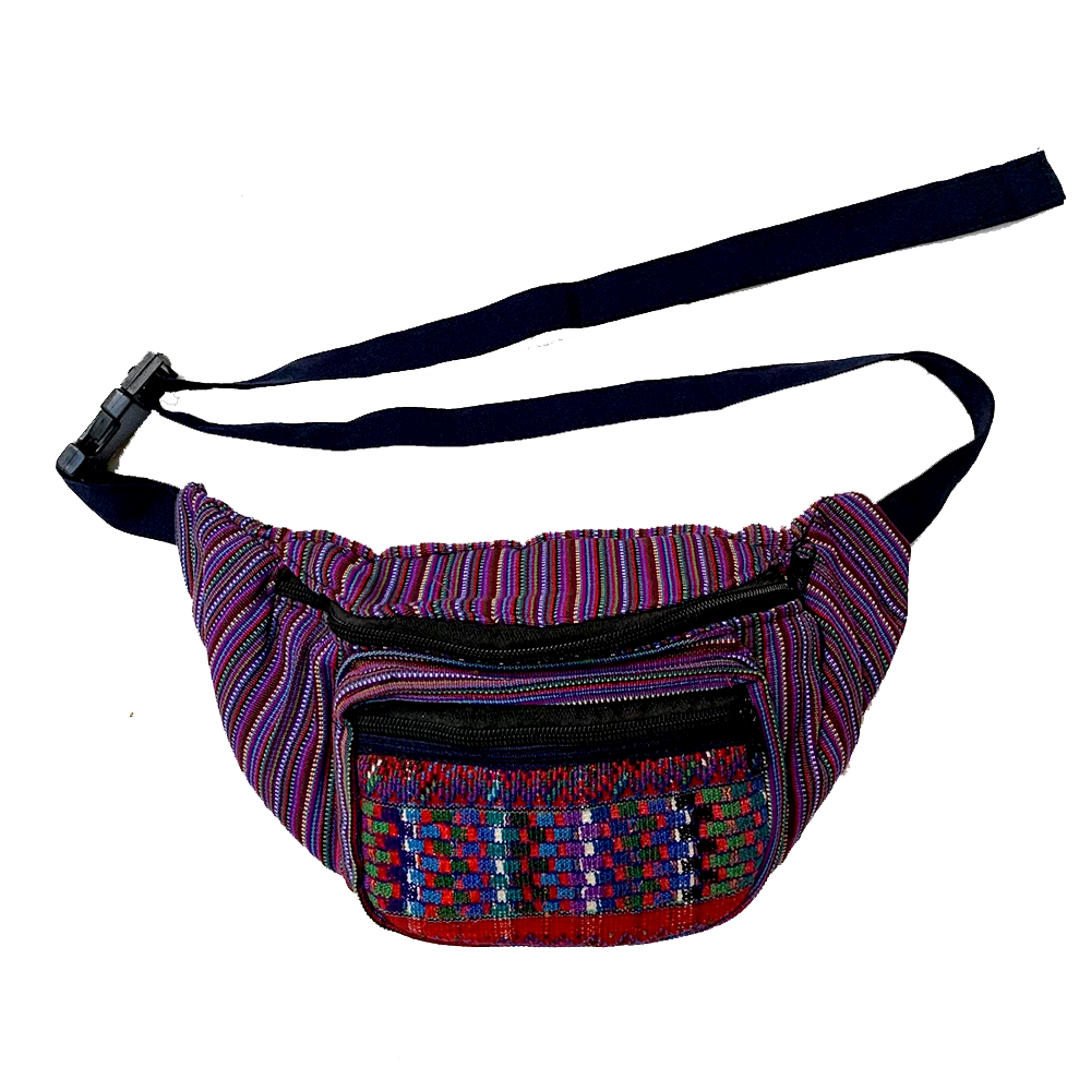 Purple Striped with Pattern Embroidered Pocket Fanny Pack from Guatemala