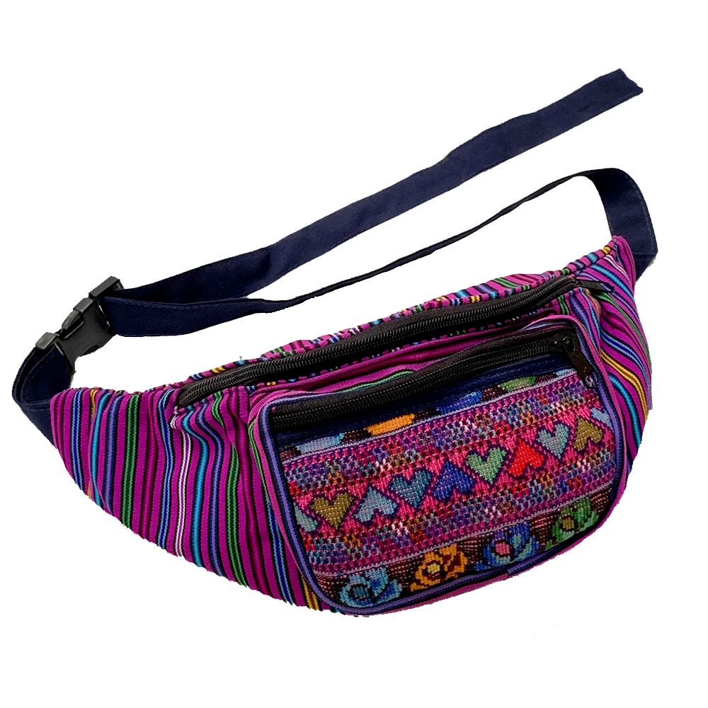 Purple with Heart Pattern Embroidered Pocket Fanny Pack from Guatemala