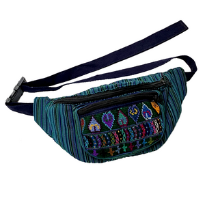 Teal Green with Embroidered Hearts Fanny Pack from Guatemala