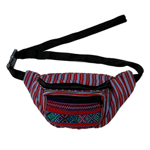 Red & Grey Striped with Embroidered Pocket Fanny Pack from Guatemala