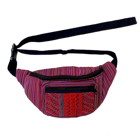 Red Striped with Red Embroidered Pocket Fanny Pack from Guatemala