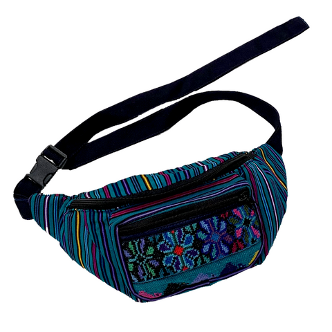 Turquoise with Embroidered Flowers Fanny Pack from Guatemala