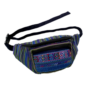Blue & Green with Embroidered Pocket Fanny Pack from Guatemala