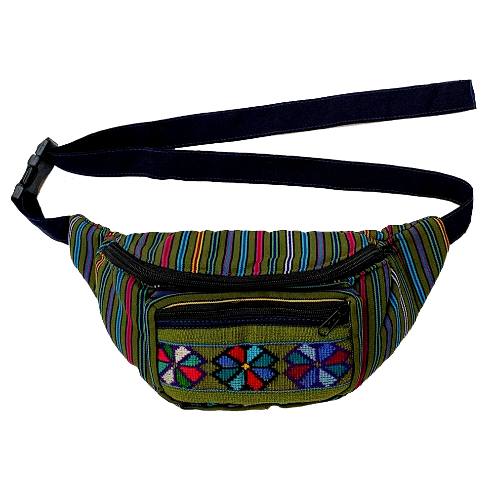 Olive Green with Embroidered Flowers Fanny Pack from Guatemala