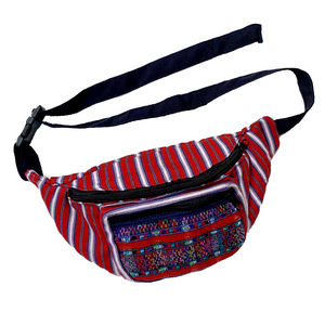 Red Striped with Embroidered Pocket Fanny Pack from Guatemala