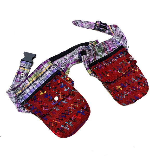 Double Pocket Fanny Pack with Dark Red Vintage Huipil & Purple Corte Fabric