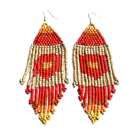 Red, Orange, Yellow & Gold Beaded 13 Fringe Earrings - 5 1/2""