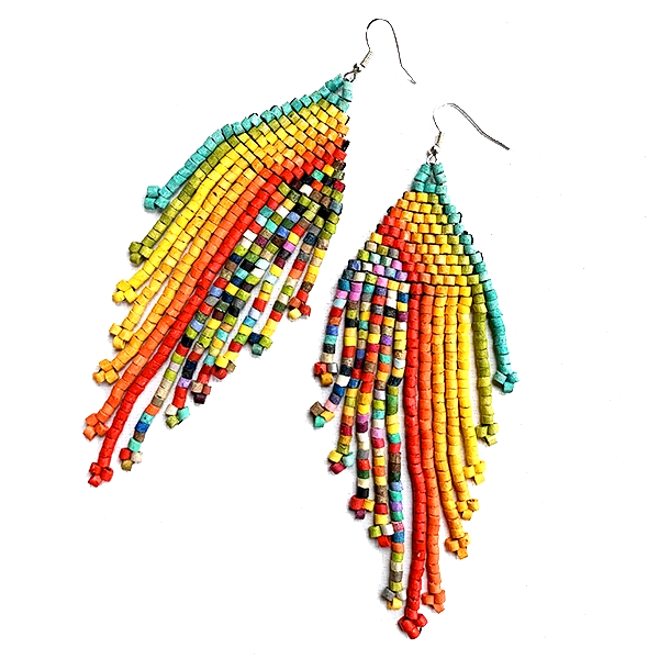 Rainbow & Multi Color Beaded Fringe Earrings - 5 1/2""